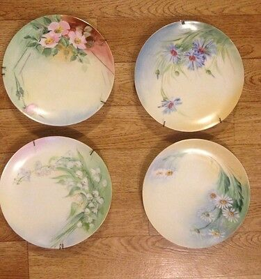 KPM Germany Hand Painted 4 Plates Flowers