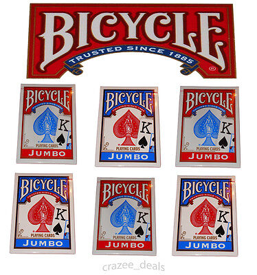Lot Of 6 Sealed Decks Bicycle Poker Size Jumbo Face Standard Playing Cards NEW