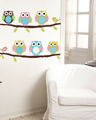 Wall Stickers Owl Branch Vinyl Kids DIY removable Home Decor Mural Decal ue72