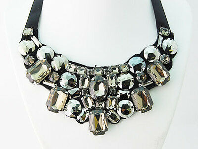 Smokey Faceted Crystal Rhinestone Alloy Beads Floral Ribbon Fashion Bib Necklace