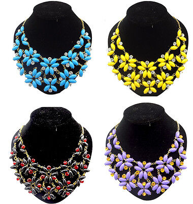 Vintage Gold Crystal Resin Stone Beads Petal Flower Statement Bib Necklace