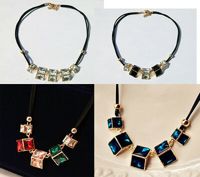 Women Gold Plated Black Faux Leather Solid Crystal Geometry Necklace