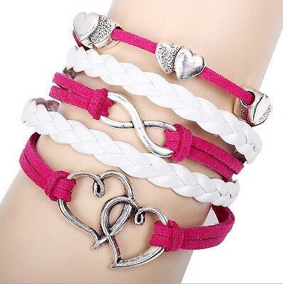 NEW Hot Infinity Love Anchor Leather Cute Charm Bracelet plated Silver DIY XL108