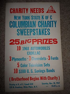 "Vintage 1961 ORIGINAL POSTER- KNIGHTS OF COLUMBUS- NY Sweepstakes 22"" by 14"""