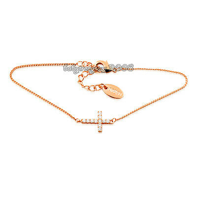 Simple Cross Cool 18K Rose Gold Plated Clear Crystal Fashion Braelet K838