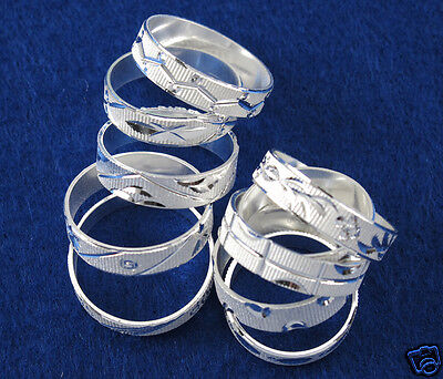 10PCS Lots wholesale 925 Sterling Silver Mixed Carving Design Rings Size 7-10