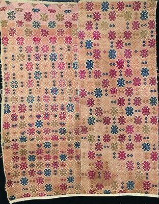 Old tribal chinese minority people's original hand-woven embroidery blanket