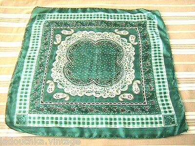 FRENCH 1950s WOMEN ROCKABILLY GREEN SILK SCARF -MADE IN FRANCE - PERFECT - 20x20