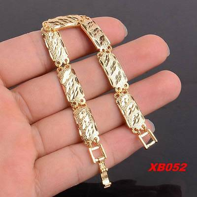 """Fashion 18K Yellow Gold Plated Engraving Link Cuff Chain Bracelet 7.5"""""""