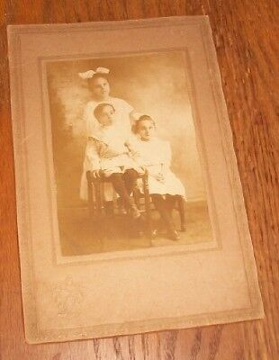 Old Antique Vintage CDV Photograph Adorable Children Girls with Bows in Hair