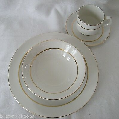Lot 15 pcs WOOD & SON ALPINE WHITE dinnerware plates cups saucers bowl gold band