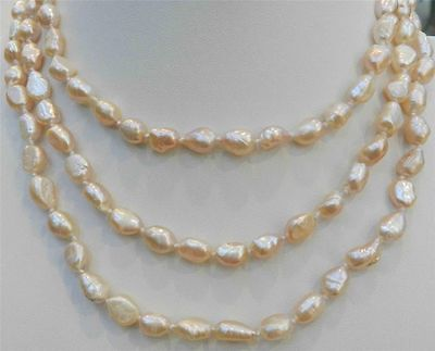 LONG 48 INCHES 7-9MM PINK AKOYA CULTURED PEARL NECKLACE 18KGP