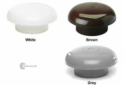 Roof Cowl Chimney Cap, Rain Hat, Ventilation, Extract Cover GREY, WHITE or BROWN
