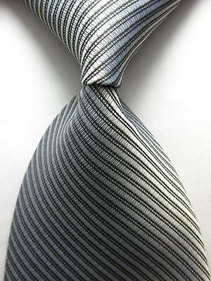 New Classic Striped WOVEN JACQUARD Silk Men's Suits Tie Necktie Silver Gray N199