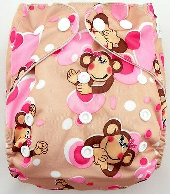 Pink Monkey Shine Baby One Size Adjustable Cloth Diaper Nappies OB029 04S2
