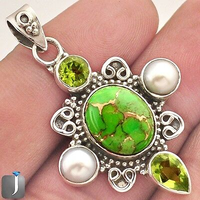 12.56cts GREEN COPPER TURQUOISE PERIDOT PEARL 925 SILVER PENDANT JEWELRY E24061