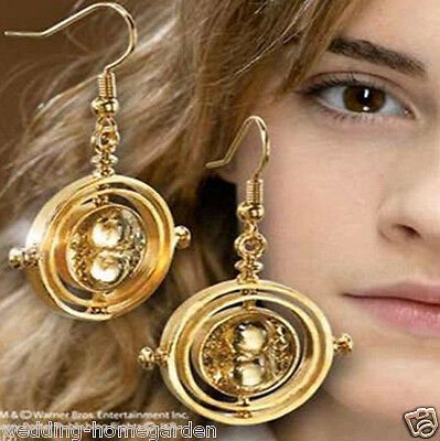 Harry Potter Time Turner Hermione Hourglass Rotating Spins Gold Earring pe71