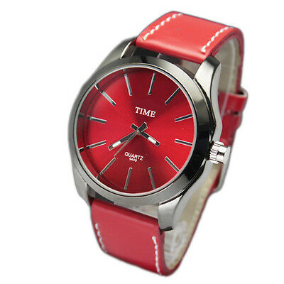 Stylish Red Watch Faux Leather Stainless Steel Case Quartz Watch Wristwatch Hot