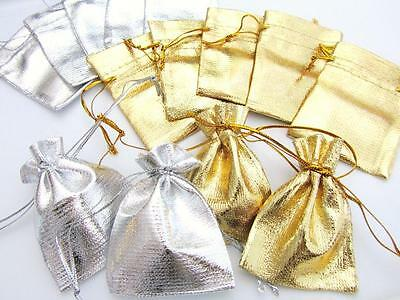 """100 Drawstring 2""""x3"""" Small Gift Bags/Pouch/Party Favor/Package NO1-Fabric Silver"""