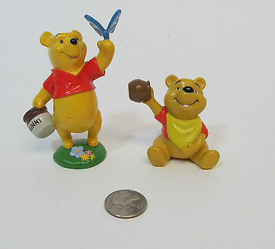 WINNIE THE POOH Lot 2 VIntage Figures Cake Toppers HONEY Disney Store Butterfly