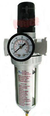 """single In-line Air Compressor Water Air Filter With Regulator Trap 3/8"""" NPT"""