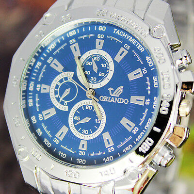 Hot Blue Dial Elegant Men's Stainless Steel Quartz Fashion Wrist Watch, NW10-BL