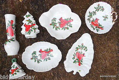 Vintage PERFECT Lefton Red Cardinal decorated Porcelain china bell vase dish ++
