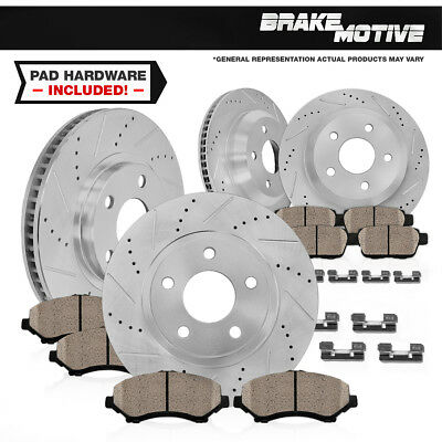 Front & Rear Drilled Slotted Brake Rotors And Ceramic Pads Kit Chevy C4 Vette