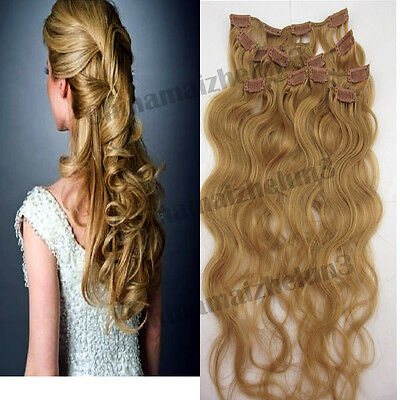 18 inch 7pcs 70g Dark Blonde Clip in Remy Real Human Hair Extensions Curly Wavy