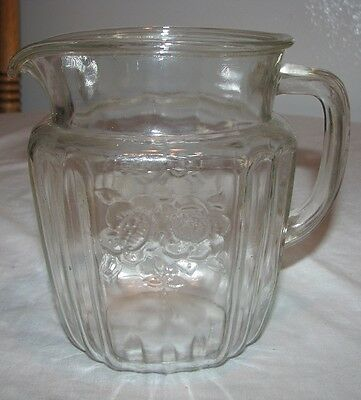 """Anchor Hocking Depression Glass MAYFAIR Open Rose 6"""" Clear PITCHER Used"""