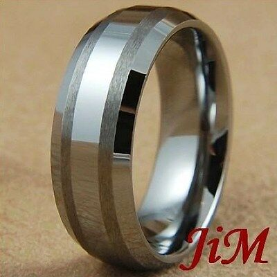 8MM Tungsten Mens Ring Dome Wedding Band Brished Tone Titanium Color Size 6-15