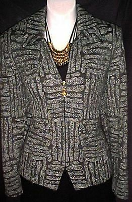 ST JOHN COLLECTION Muted Blue Brown ZipFront Suit Jacket ~ 6 / 8