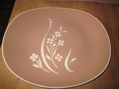 Harkerware Large Platter Springtime Mid Century Pink Cocoa Tan flower design
