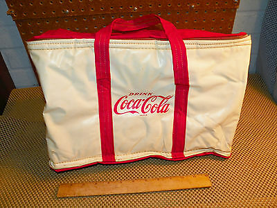 Vintage NAPPY COCA-COLA Vinyl Soft Side Insulated Cooler w Zipper*