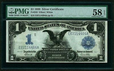 U.S. 1899  $1 SILVER CERTIFICATE BANKNOTE FR#235, ABOUT UNCIRCULATED, PMG-58-EPQ
