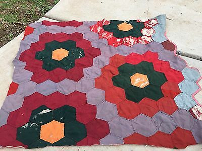 VINTAGE HAND QUILTED EARLY FABRICS (SOME SATIN) FLOWER GARDEN CUTTER QUILT PIECE