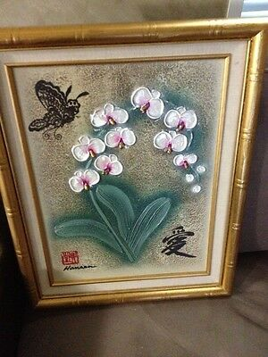 Beautiful Asian Painting Oil By Signed Artist Gold Wood Frame Next Day Ship