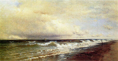 Oil painting Francis A. Silva - Clearing Off seascape with waves free shipping