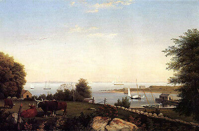 Oil Fitz Hugh Lane - Gloucester from Brook bank with cows in landscape & boats