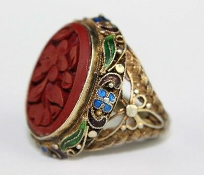 VTG Chinese Export SILVER Fine Wire Filigree w Enamel & Red Floral Cinnabar Ring