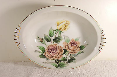 """Kent China Trio of Roses 11"""" Oval Vegetable Serving Bowl Gold Accent"""