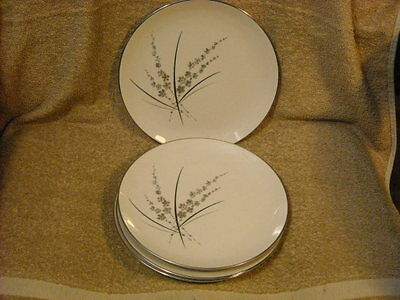 "set of (4) Marquise Fine China ""Fascination"" Salad Plates Made USA Platinum Trim"