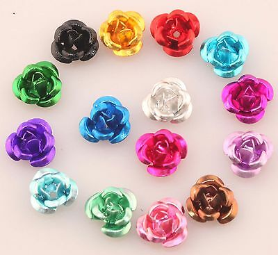 100pc 6mm Mixed Color Rose Flower Aluminum Against Rusting Rustless Spacer Beads