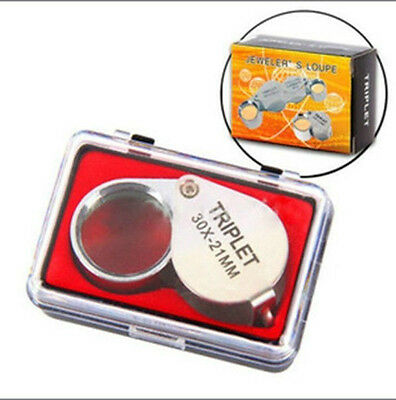 1pc Silver Pocket Jeweler Lens 30 X 21mm Loupe Magnifying Eye Glass Magnifier