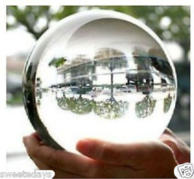 2014 ASIAN QUARTZ Clear Crystal Ball Sphere 80mm +stand