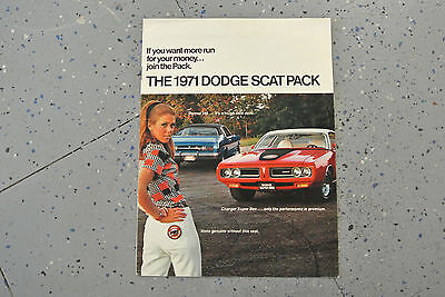 1971 Scat Pack Charger Super Bee Challenger Demon Sales Ad Brochure Original