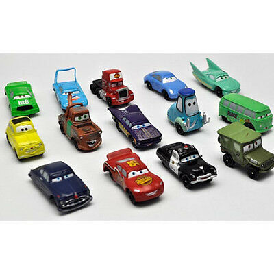 14pc/Lot Disney Pixar Cars Lightning McQueen Sarge Sally Guido Car 4-6cm Toy NEW