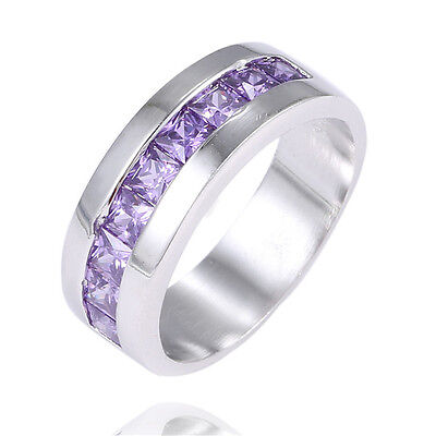 Fashion 1pc Sterling Silver Purple Gemstone Appealing Mens Womens Ring size 8