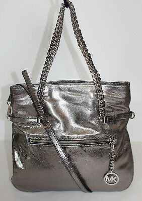 NWT MICHAEL KORS LACEY LARGE FOLD OVER  LEATHER SHOULDER TOTE NICKEL