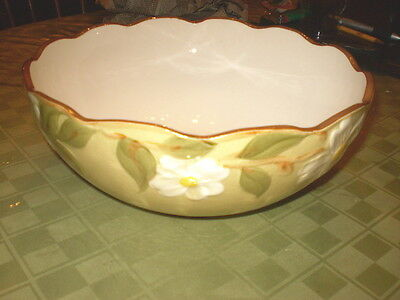 "Vintage Stangl White Dogwood 10 "" Round Serving Bowl FREE SHIPPING"